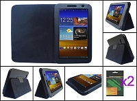 Black PU Leather Case Cover w/Protector for Samsung Galaxy Tab 7.0 PLUS 16GB 32G